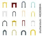 flat arch icons set. universal...