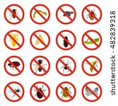 flat no insect sign icons set....