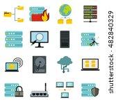 flat big data icons set....