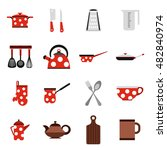 flat kitchen tools icons set....