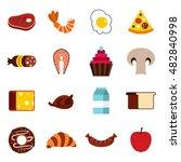 flat food icons set. universal...