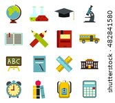 flat school icons set....