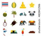 flat thailand icons set....