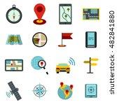 flat navigation icons set....
