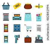 flat supermarket icons set....