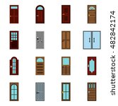 flat door icons set. universal...