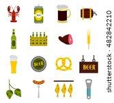 flat beer icons set. universal...
