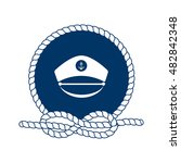 nautical badge with captain hat.... | Shutterstock .eps vector #482842348