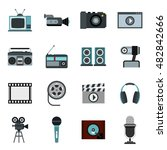 flat video icons set. universal ...