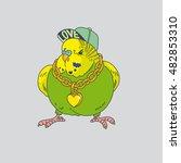 bright green budgerigar sitting.... | Shutterstock .eps vector #482853310