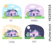 cartoon house building icon set....   Shutterstock .eps vector #482855818
