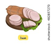 Ham On Wooden Cutting Board...