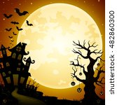 halloween haunted castle with... | Shutterstock .eps vector #482860300
