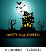 halloween night background with ... | Shutterstock . vector #482860360