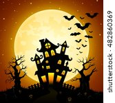 halloween night background with ... | Shutterstock . vector #482860369
