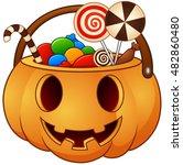 halloween pumpkin basket with... | Shutterstock .eps vector #482860480