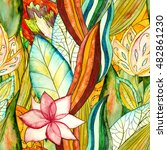 floral watercolor seamless... | Shutterstock . vector #482861230