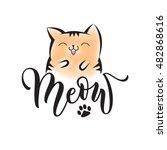 vector black lettering meow... | Shutterstock .eps vector #482868616