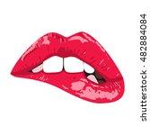 sexy biting lips. vector...   Shutterstock .eps vector #482884084