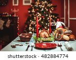 christmas dinner by candlelight ... | Shutterstock . vector #482884774