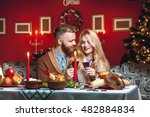 beautiful couple in a decorated ... | Shutterstock . vector #482884834
