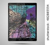 tablet computer with broken...   Shutterstock .eps vector #482885554