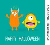 happy halloween greeting card.... | Shutterstock . vector #482891479