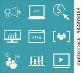 set of seo  marketing icons on...