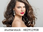 beautiful girl with long wavy... | Shutterstock . vector #482912908