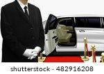 chauffeur waiting by the white... | Shutterstock . vector #482916208