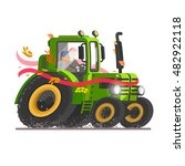 green tractor set. agricultural ... | Shutterstock .eps vector #482922118