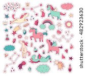 unicorn and pony collection... | Shutterstock .eps vector #482923630