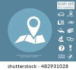 pin on the map. vector icon | Shutterstock .eps vector #482931028