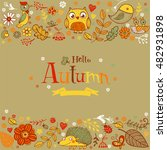 hello autumn banner in doodle...   Shutterstock .eps vector #482931898