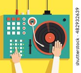 turntable with dj hands. vector ... | Shutterstock .eps vector #482932639