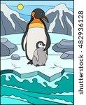 cartoon birds. mother penguin... | Shutterstock .eps vector #482936128