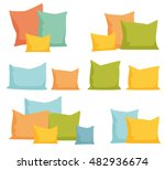 pillows set. comfortable bed... | Shutterstock .eps vector #482936674