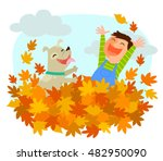 boy and his dog playing in a...   Shutterstock .eps vector #482950090