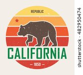 california t shirt with grizzly ... | Shutterstock .eps vector #482950474
