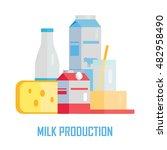 milk production concept . flat... | Shutterstock . vector #482958490