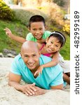 asian father and his children. | Shutterstock . vector #482959189