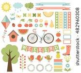 cute garden stickers. vector | Shutterstock .eps vector #482960308