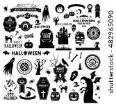 set of happy halloween black... | Shutterstock .eps vector #482965090