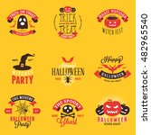 set of happy halloween badges ... | Shutterstock .eps vector #482965540