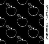 monochrome cartoon apple... | Shutterstock .eps vector #482966629