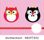 owl couple greeting | Shutterstock .eps vector #48297352