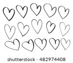 set of hand drawn hearts.... | Shutterstock .eps vector #482974408