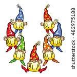seven gnomes in colorful caps....