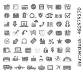 black icons   shopping delivery ... | Shutterstock .eps vector #482979370