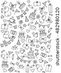 hand drawn happy birthday party ... | Shutterstock .eps vector #482980120